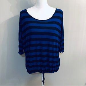 Kensie Blue & Black Striped Top